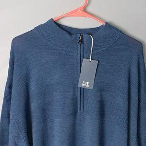 NWT Cutter & Buck pullover zip sweater blue 3XL